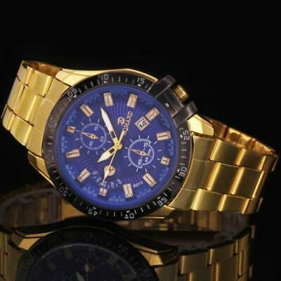 Luxury Mens Black Dial Gold Stainless Steel Date Quartz Analog Sport Wrist Watch