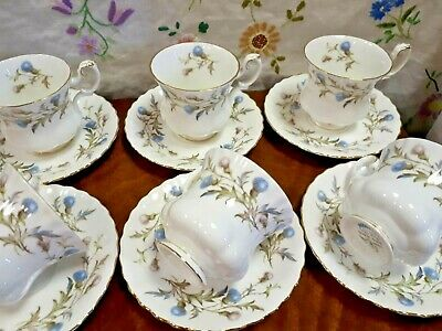 Royal Albert x6 Coffee Cups & Saucers BRIGADOON Thistle VGC