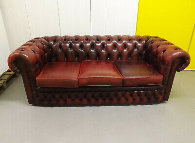 Chesterfield Three Seater Sofa Oxblood Red Leather 3 Seat Settee Buttonback