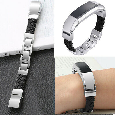 Black Leather Metal Watch Strap Band Replacement Wristband for Fitbit Alta HR