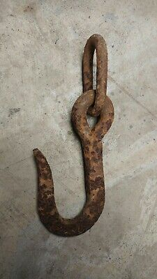 Large forged rusty antique vintage old primitive metal hook w/big link