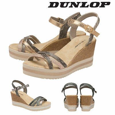 fb81a5db08 Dunlop Ladies Womens Wedge Sandals Ankle Strap Shoes Padded Insock Sizes 3-8