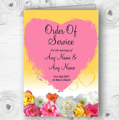 Yellow Pink Flowers Personalised Wedding Double Sided Cover Order Of Service