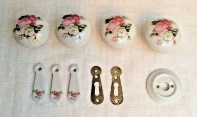 Porcelain Mortice Door Knobs & Escutcheons - Rose Decoration - Vintage 40+ yrs