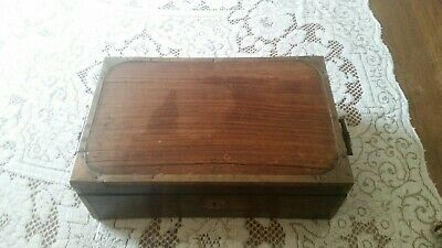 Vintage Inlaid Wood Desk Box. Ink well, Pens/nibs, Stationary etc storage.