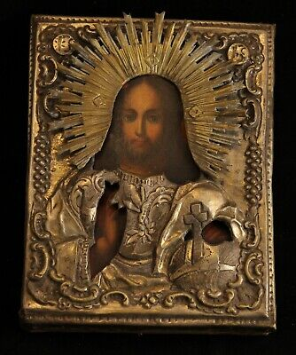 Antique XIX Orthodox Russian wooden painted icon of Jesus Christ IN OKLADA