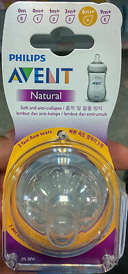 Philips Avent Natural Teat | 2pcs fast flow | 6m+ | Made in England | No BPA