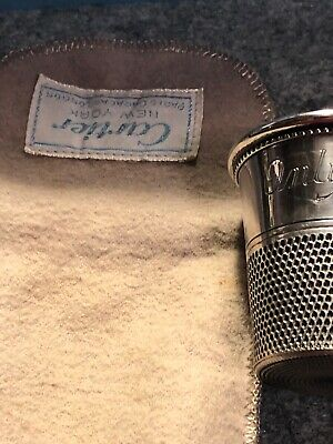 SIGNED CARTIER STERLING SILVER SHOT THIMBLE And Bag