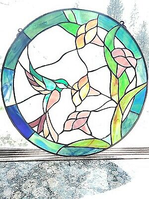 "Large 16"" Round Vintage Leaded Stained Glass Flower Humming Bird Window Hanging"