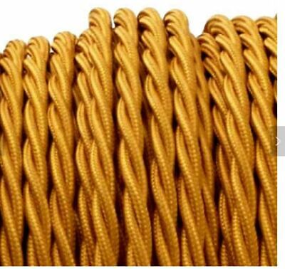 Gold Twisted Cloth Covered 2-Wire Round Cord 18ga Vintage industrial steampunk