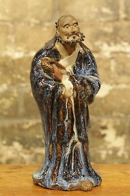 Antique Chinese Pottery Shiwan Statue Bodhidharma 19Th