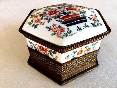 Beautiful Antique Chinese Porcelain And Bronze Box