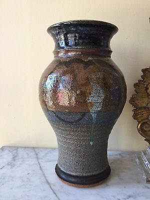 Beautiful Antique Asian? Hand Made Hand Painted Pottery Vase