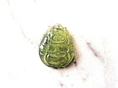 Antique Chinese Hand Carved Lite Green Natural Jade Buddha Pendant