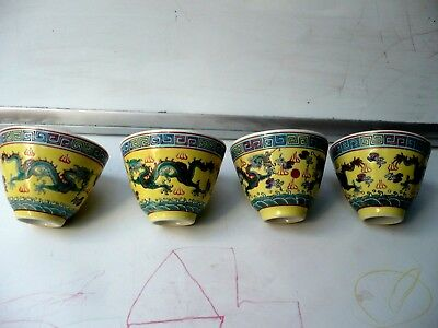 Beautiful Antique Chinese 4 Cups Or Bowls Hand Painted Dragon Design Marked