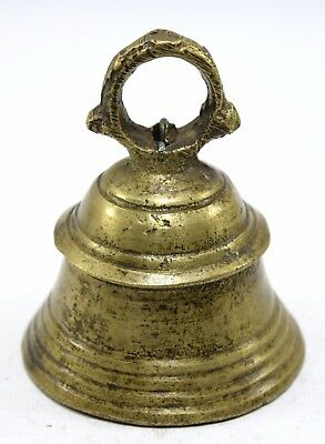 Antique Collectible Christmas Bell Handmade Brass Metal Rich Patina. i9-105 US