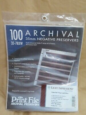 New 100 35mm Archival Negative Preservers Clear Pages Sleeves Print File 35-7BXW