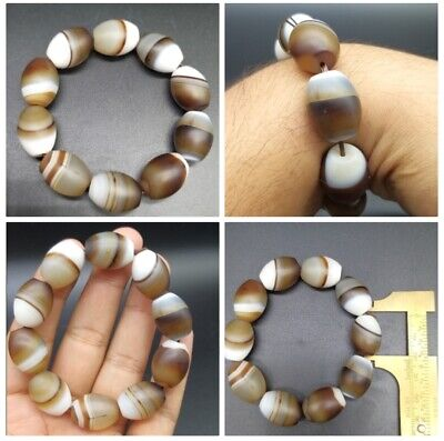 Very Beautiful Colour Full Brown& White Sulamani Agte Beads Antique Barclet