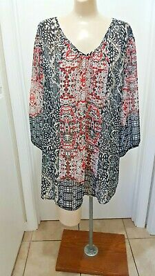 a7efe106bff Style & Co Semi Sheer XL Tunic Top Peasant Boho Baby Doll Scoop Neck 3/