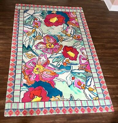 Anthropologie Rug pink turquoise teal Bight Big Floral Ethnic Border  5 x 8 New