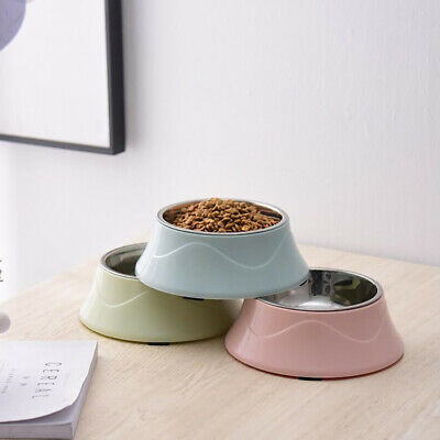 Stainless Steel Puppy Dog Feeder Feeding Food Water Dish Bowl Pet Dogs Cat ST