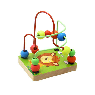 Baby Colorful Wooden Mini Around Beads Wire Math Maze Toy Kid Educational Toy SM