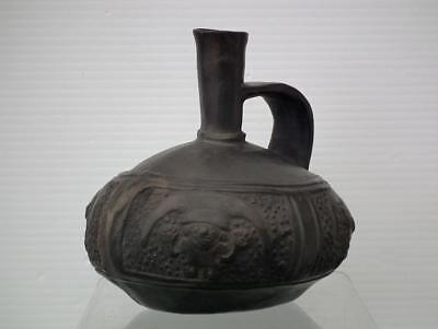 Antique Pre-Columbian Chimu Inca Empire Blackware Pottery Vessel1100 - 1532 A.D.