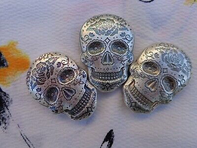 2 oz. Sugar Skull Day of the Dead Rose poured ingot .999 fine silver