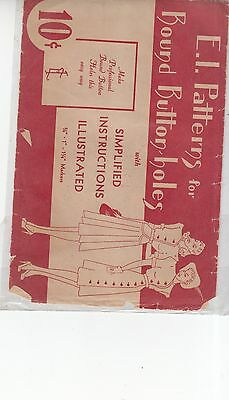 Vintage 1930's E.I. Patterns for Bound Button Holes booklet