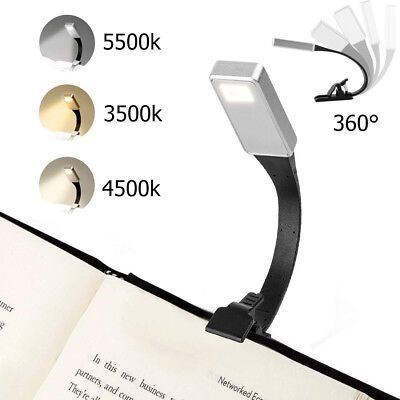 USB Rechargeable Clip On Book Light LED Flexible Reading Lamp For Reader Kindle~