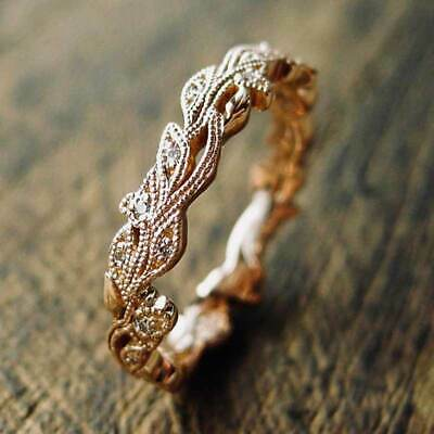 Fashion leaf Rose Gold Filled Rings for Women Round Cut White Sapphire Size 6-10