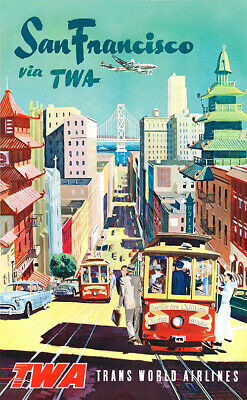 San Francisco via TWA Vintage Travel Poster 24x36