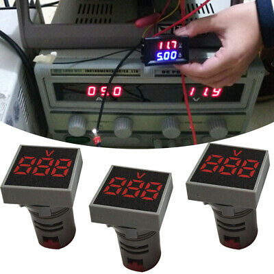 Mini Square AC 12-500V Voltmeter Panel LED Digital Display Indicator Light 22mm