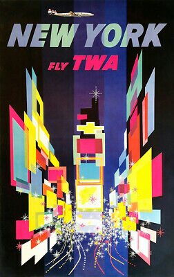 TWA New York, Times Square - Vintage Travel Poster 24x36