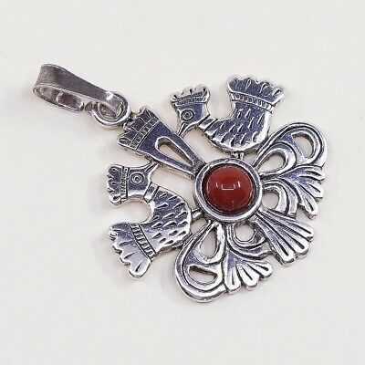 Vintage Sterling Silver Handmade Pendant, 800 silver Irish Celtic Bird N Coral