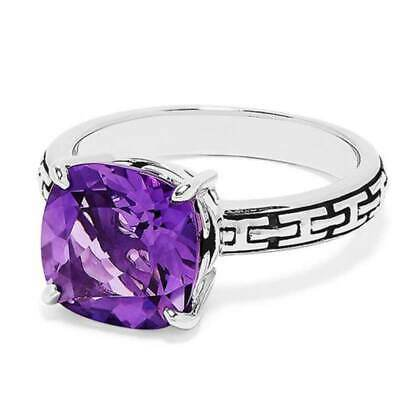 Elegant Women 925 Silver Wedding Engagement Rings Amethyst Ring Size 6-10