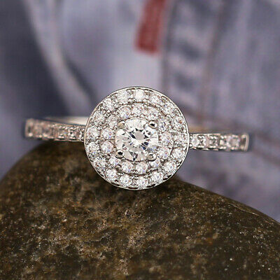 Classic Women 925 Silver Wedding Rings Round Cut White Sapphire Size 6-10