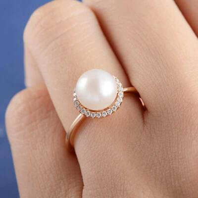 Fashion Rose Gold Filled Women's Wedding Rings Round Cut White Pearl Size 6-10