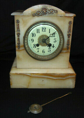 Antique French Pink Marble Mantel Clock w/ Pendulum Maker Unknown P/R