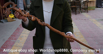 "38"" Antique Old Chinese Boxwood Carving Dragon Head Crutch Walking Stick Crozier"