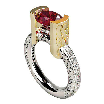 Fashion Oval Cut Ruby 925 Silver Filled Jewelry Women Wedding Rings Size 6-10