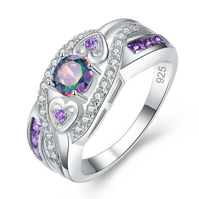 Fashion 925 Silver Jewelry Round Cut Mystic Topaz Women Wedding Ring Size 6-10