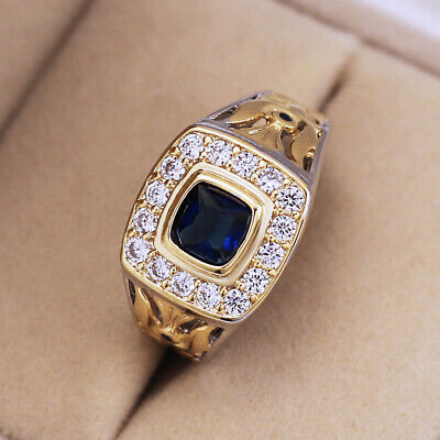 Vintage Two Tone Rings for Men/women 925 Silver Blue Sapphire Ring Size6-10