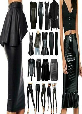 Ladies Wet Look Bodysuit Belted Skater Swing Dress Womens Boobtube Crop Top Lot