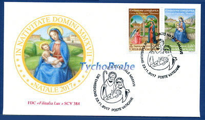 FDC CHRISTMAS 2017 NOËL VATICAN JOINT MONACO First Day Cover NAVIDAD FILITALIA