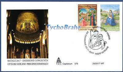FDC CHRISTMAS 2017 NOËL VATICAN JOINT MONACO First Day Cover NAVIDAD CAPITOLIUM