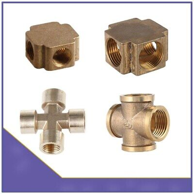 Brass BSP X Shape 4 Way Cross Equal Female Thread Connector Pipe Fitting Air Gas