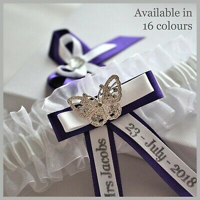 Personalised Bridal Garters with Diamante butterfly. Gift Box included.