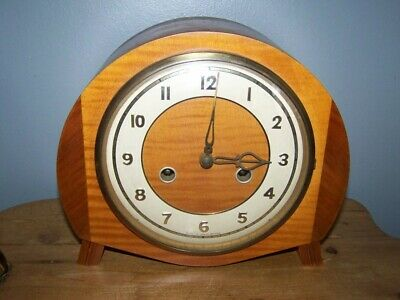 vintage art deco english  oak SMITHS ENFIELD mantle clock & key
