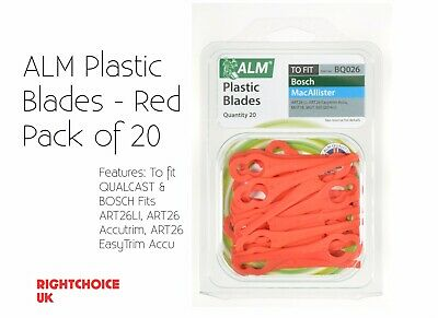 ALM Bosch Qualcast Lawnmower Elictric Trimmer Plastic Clip On Cutter Blade x20pk